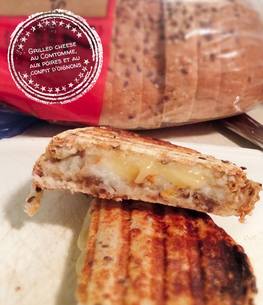 Grilled cheese au Comtomme, aux poires et au confit d'oignons - Auboutdelalangue.com
