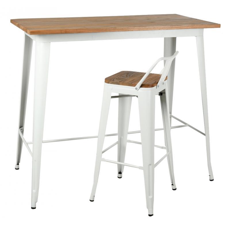 table haute industrielle en metal blanc et bois d orme huile mta1700 aubry gaspard