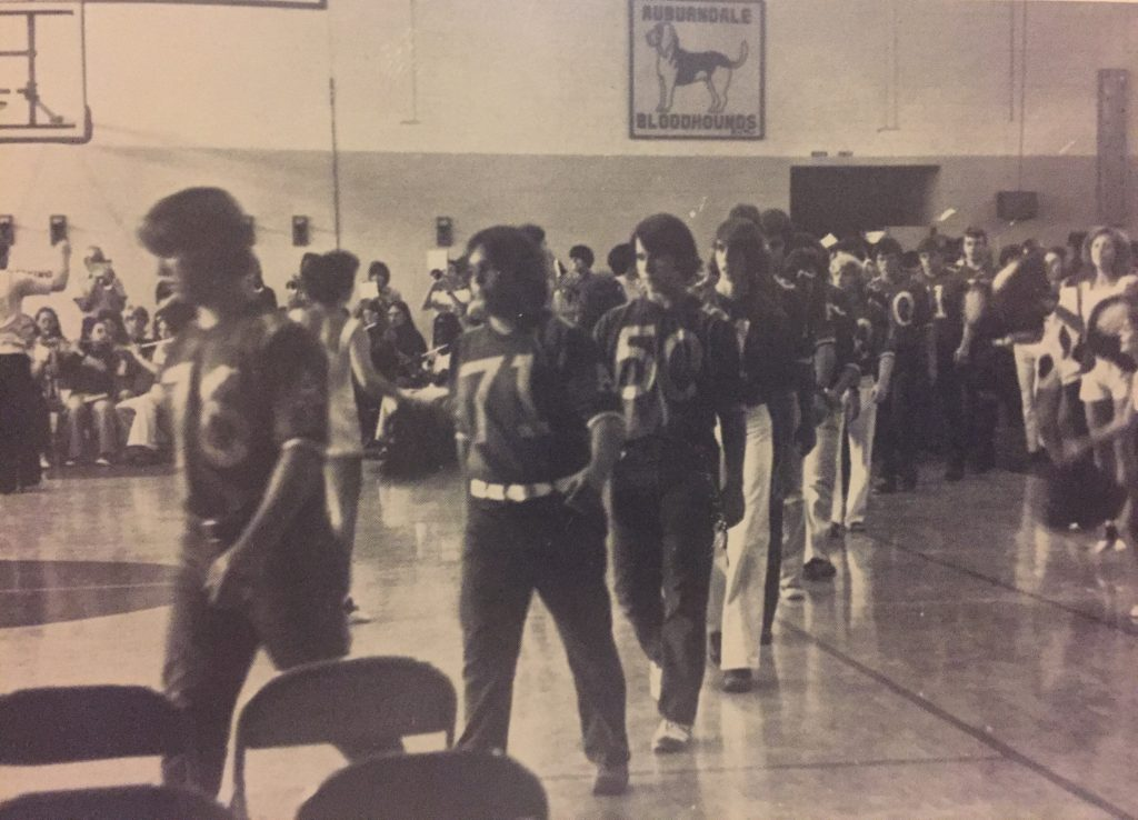 The Auburndale High School band in the gym, 1972