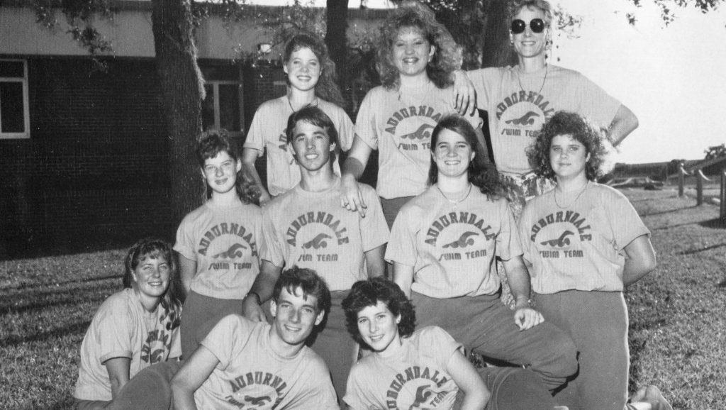 AHS swim team outside the office, 1989