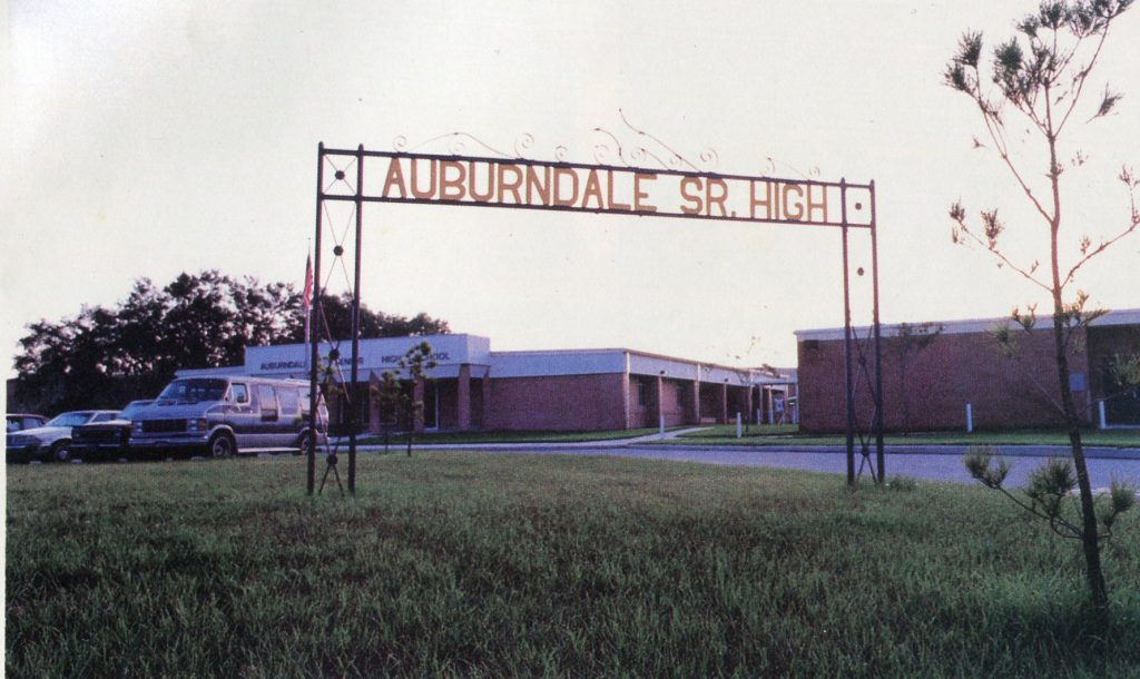 AHS sign, moved, in 1992