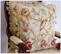 Chic Bird French Aubusson Pillow WOOL Chair Bed Sofa Bench ...