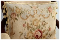 FREE SHIP! Aubusson Pillow Cushion BLACK PINK Shabby ...