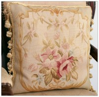 "16"" WOOL Aubusson Pillow PASTEL GOLD PINK CREAM French ..."