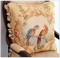 PARROT BIRDS French Aubusson Weave Pillow WOOL HANDMADE ...