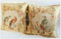 PARROT BIRDS II Aubusson Pillow WOOL French Bed Sofa Chair ...