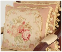 A Pair PINK QUEEN Aubusson Pillow Shabby French Chic Rose ...