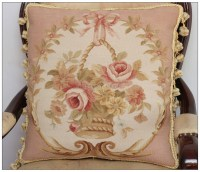 "PAIR! 18"" SHABBY PINK CHIC Wool Aubusson Cottage Pillow ..."