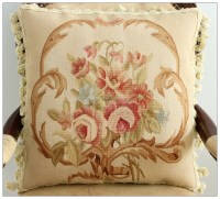 "18"" BEIGE CREAM PINK Aubusson Cottage Pillow WOOL French ..."