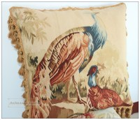 ANTIQUE FRENCH DECOR Aubusson Tapestry Pillow Cushion ...