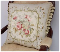 "18"" SILK Woven Aubusson Rose Pillow Cottage French Decor ..."