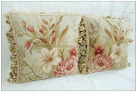 12X12 Aubusson Pillow BLUE PINK Shabby French Chic Rose ...