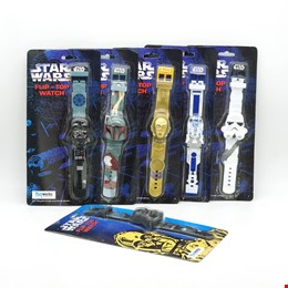 Six Lucasfilm / Playworks 1996 Star Wars Flip Top Watches, New Old Stock