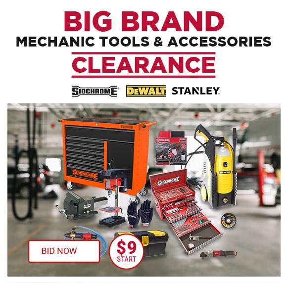 Big Brand Mechanic Tools & Accessories Clearance Stanley, Sidchrome, DeWalt BID NOW  START