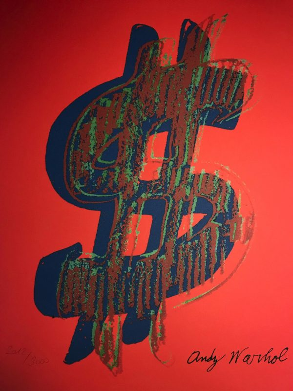 Andy Warhol - Dollar sign in red - Granolithographie