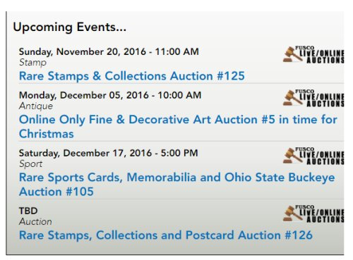 Fusco Auctions Rare Stamps & Collections Auction #125 Ends November