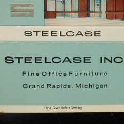 Sofas Grand Rapids Mi Mid Century Modern Black Leather Sofa 1960s Billboard Matchbook Office Furniture Steelcase Inc