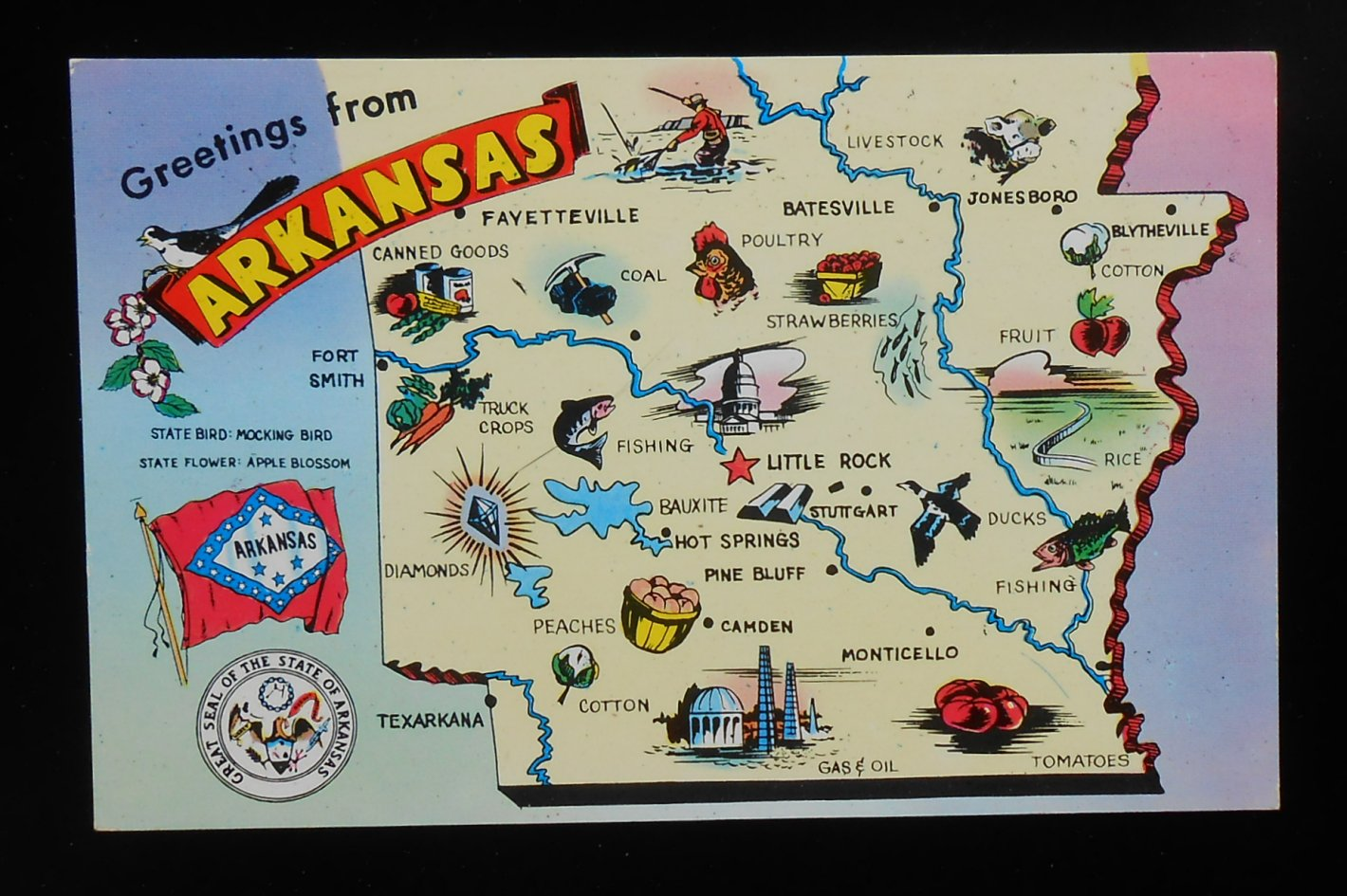 S Arkansas State Map Landmarks Icons Flag Bird Flower