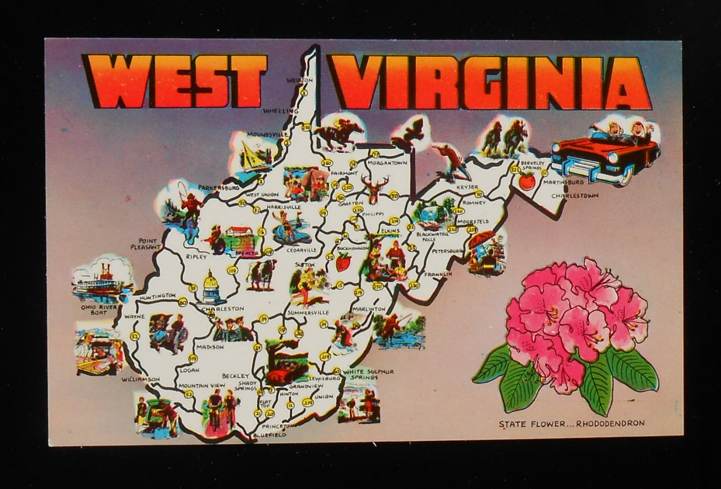 S State Map Of West Virginia Landmarks Icons Wv