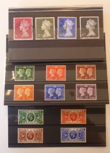 3 sets of stamps - George V Mint Jubilee set, George VI mint set and QE II High Value used set