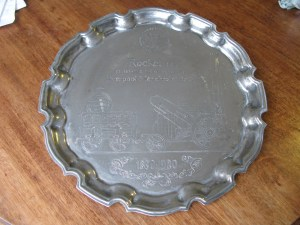 Metal Tray commemorating Rocket 1830-1980