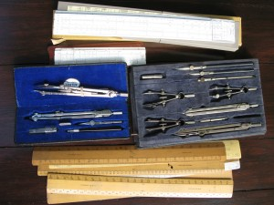 Collection of Drawing instruments, scale rulers and slide rules