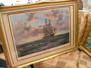 Painting of one square masted sailing ship in recent frame