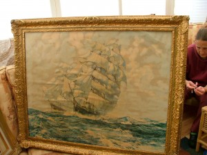 Painting of two square masted sailing ships in old frame