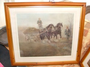 Shire horses pulling cart picture