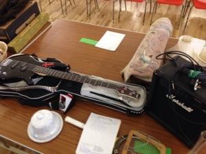 Ibanez bass guitar and Marshall amplifier