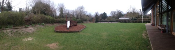 The Itchen Abbas Village Hall - garden panorama