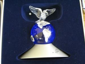Lot 259 - Swarovski Dove on a Globe - Sold for £45