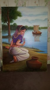 This painting of a girl by a lake is by the artist Kafait from Pakistan. A very well known artist in Asia and has done many pieces of work throughout the UK…. some of his paintings hang up in exclusive Asian restaurants and are a delight to view.
