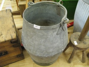 Lot 55 - Large galvanised and riveted steel bucket - Sold for £40