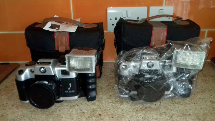 """Canon"" and Nokina NK3030 35mm SLR cameras"