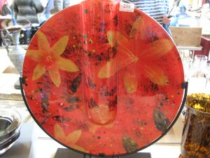 Lot 259 - Large circular glass artwork in stand - Sold for £65