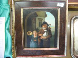Lot 332 - Oil on board painting of Bagpipe playing beggar and child - Sold for £65