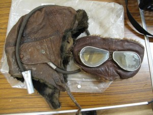Lot 387 - WWI Flying Helmet and Googles - Sold for £90