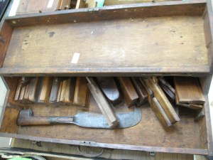 Lot 201 - Carpenters box and tools - Sold for £45