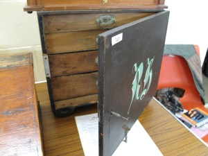 Lot 340 - Set of wooden engineers drawers with locking door and key - Sold for £40