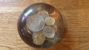 Paperweight with 1948 coins and others