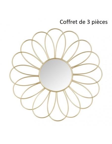 ensemble de 3 miroirs fleur dore en metal d 25 5 cm