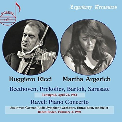 Martha Argerich and Ruggiero Ricci: Leningrad Recital II, 1961 = Works for Violin w Piano by BACH; BEETHOVEN; FRANCK; BARTOK; PAGANINI; TARTINI – Ruggiero Ricci, violin/ Martha Argerich, piano – Doremi