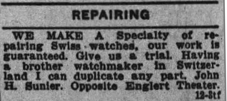 12/7/1929 Iowa City Press-Citizen Sunier Jeweler 1