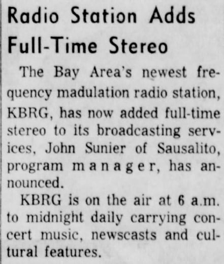 Daily Independent Journal, San Rafael, California, 7/22/1964: Radio Station Announcement