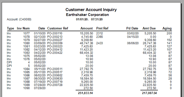 Customer Account Inquiry