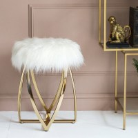 Faux Fur Gold Stool | Audenza
