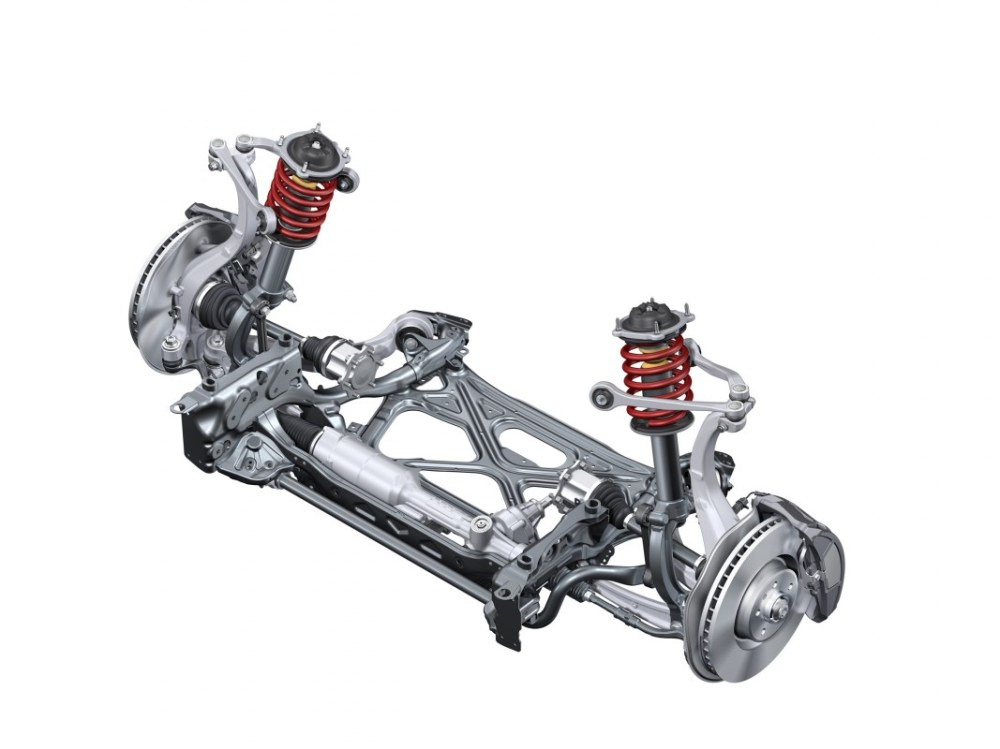 medium resolution of complex layout five link front suspension in most of the larger model lines like