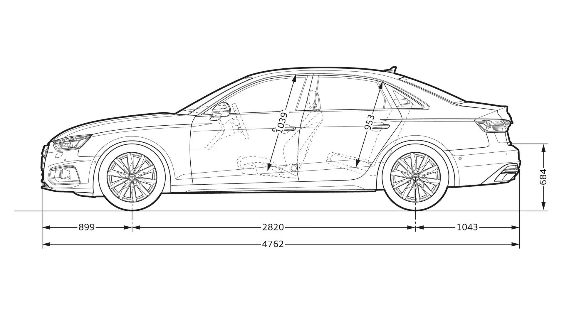 Layer: Dimensions > 2020 A4 Sedan > A4 > Audi Canada