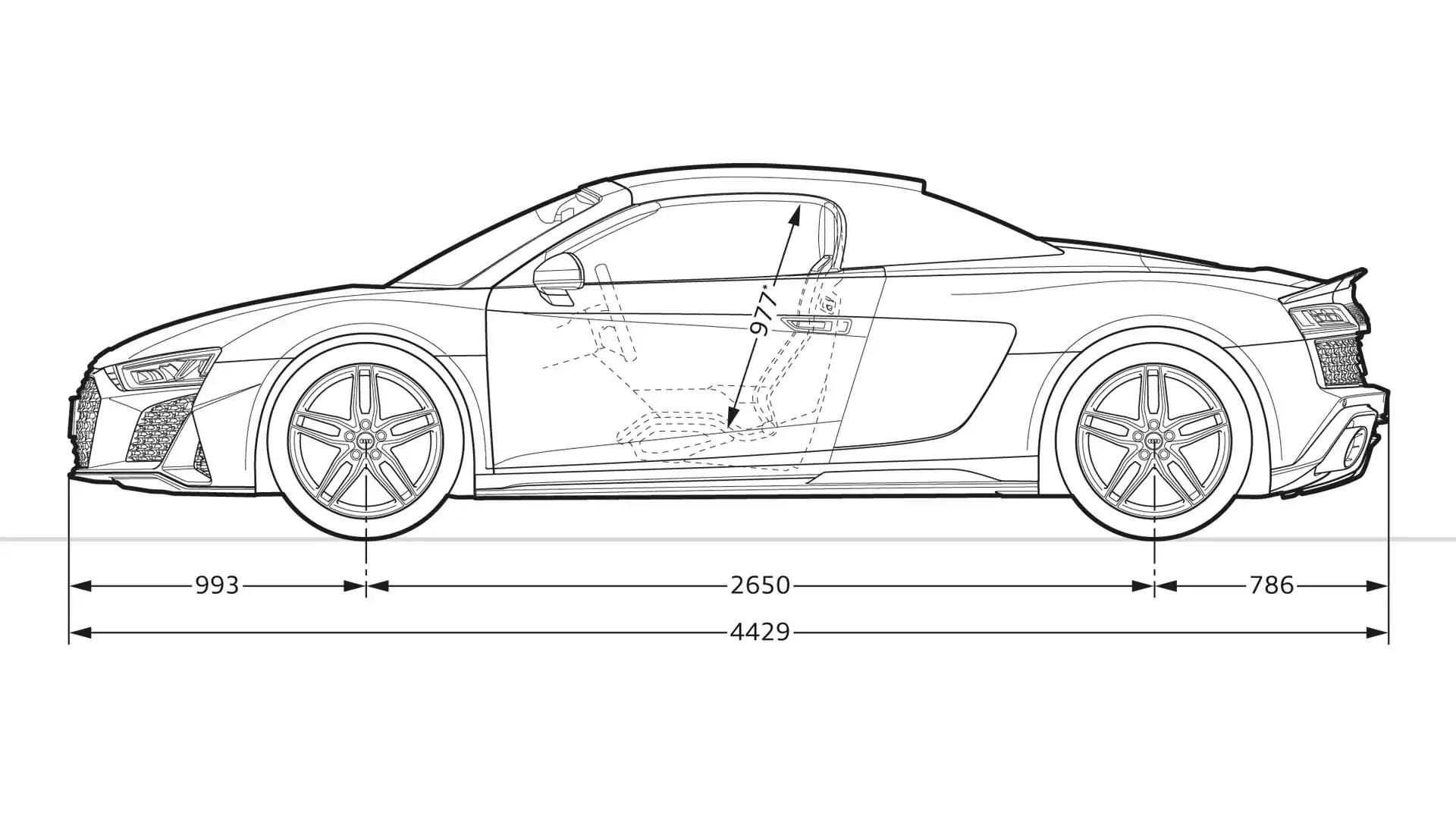 Abmessungen > R8 Spyder V10 quattro > R8 > Audi France